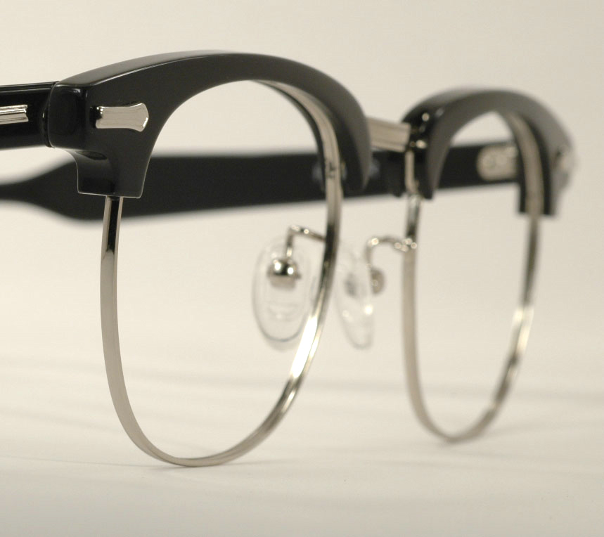 Optometrist Attic - SHURON RONSIR ZYL EBONY SILVER EYEGLASSES