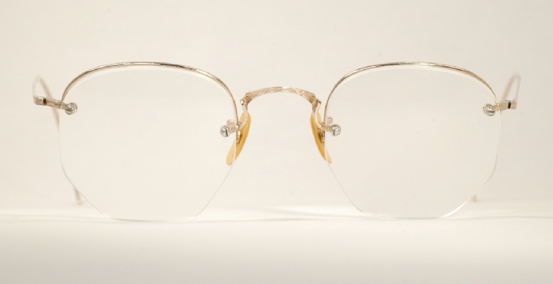 b097f1f37bb4 Optometrist Attic - SHURON GOLD RIMWAY SEMI RIMLESS VINTAGE EYEGLASSES