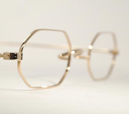 Optometrist Attic - AO VARSITY GOLD WIRE RIM OCTAGON EYEGLASSES